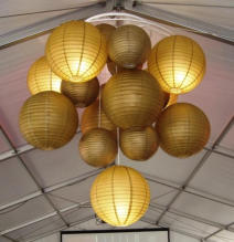 Example of feature lighting suited to a dinner or wedding reception in a marquee