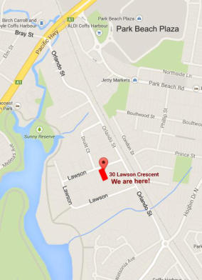 Location Map - Coffs Event Centre is at 30 Lawson Crescent Coffs Harbour